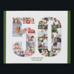 """50th Birthday Photo Collage Number 50 Custom Faux Canvas Print<br><div class=""""desc"""">Create your own personalized photo canvas for a 50th Birthday. This neat photo collage is in the shape of the number 50 on a white background with forest green borders. The collage can hold up to 17 different photos and the template is set up ready for you to add your...</div>"""