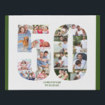 "50th Birthday Photo Collage Number 50 Custom Faux Canvas Print<br><div class=""desc"">Create your own personalized photo canvas for a 50th Birthday. This neat photo collage is in the shape of the number 50 on a white background with forest green borders. The collage can hold up to 17 different photos and the template is set up ready for you to add your...</div>"