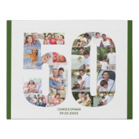 50th Birthday Photo Collage Number 50 Custom Faux Canvas Print