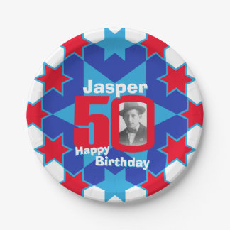 50th birthday photo name blue star paper plate