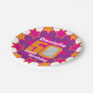 50th birthday photo name pink star paper plate