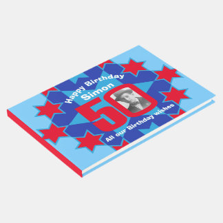 50th birthday photo star red blue guest book