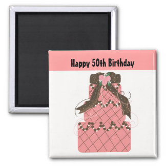 50th Birthday - Pink and Chocolate Cake Magnet