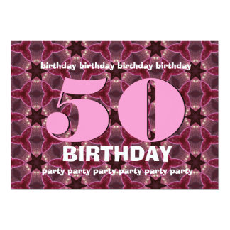 50th Birthday PINK and MAROON STARS V10 Card