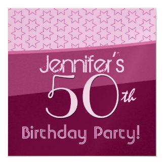"""50th Birthday Pink and WIne Star Pattern 5.25"""" Square Invitation Card"""