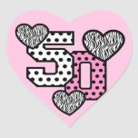 50th Birthday PINK POLKA DOTS and ZEBRA HEARTS V02 Heart Sticker