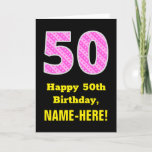 "[ Thumbnail: 50th Birthday: Pink Stripes and Hearts ""50"" + Name Card ]"