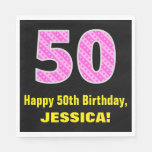 "[ Thumbnail: 50th Birthday: Pink Stripes and Hearts ""50"" + Name Napkins ]"
