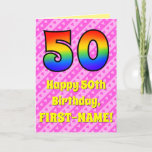 [ Thumbnail: 50th Birthday: Pink Stripes & Hearts, Rainbow # 50 Card ]