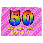 [ Thumbnail: 50th Birthday: Pink Stripes & Hearts, Rainbow # 50 Gift Bag ]