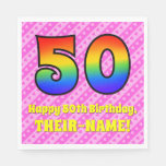 [ Thumbnail: 50th Birthday: Pink Stripes & Hearts, Rainbow # 50 Napkins ]