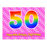 [ Thumbnail: 50th Birthday: Pink Stripes & Hearts, Rainbow 50 Postcard ]