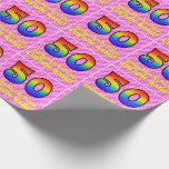 [ Thumbnail: 50th Birthday: Pink Stripes & Hearts, Rainbow # 50 Wrapping Paper ]