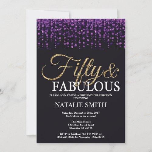 50th Birthday Purple and Gold Glitter Invitation