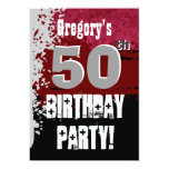 50th Birthday Red and Black Grunge Custom Name 5x7 Paper Invitation Card