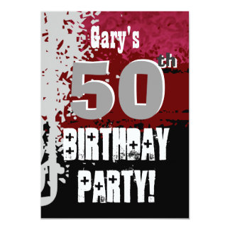 50th Birthday Red Black Gray Paint Spatter G200 Card