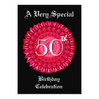 50th Birthday Red Daisy Wreath Metallic Card