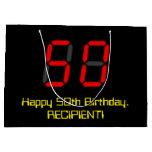 "[ Thumbnail: 50th Birthday: Red Digital Clock Style ""50"" + Name Gift Bag ]"