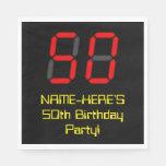 "[ Thumbnail: 50th Birthday: Red Digital Clock Style ""50"" + Name Napkins ]"