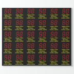 """[ Thumbnail: 50th Birthday: Red Digital Clock Style """"50"""" + Name Wrapping Paper ]"""