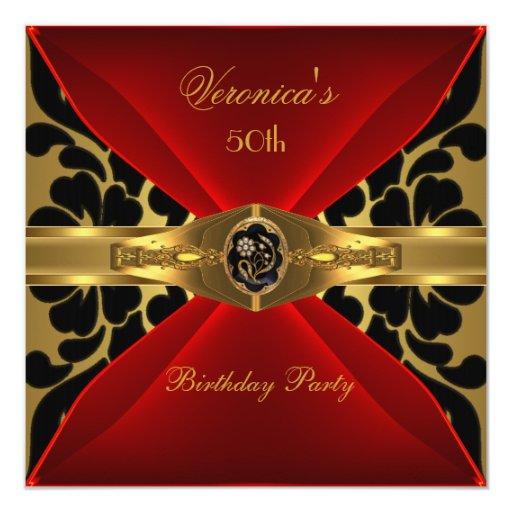 50th Birthday Red Gold Black Damask Floral Jewel 5.25x5.25 ...