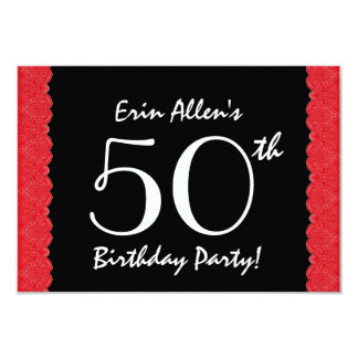 50th Birthday Red Lace V500M Card