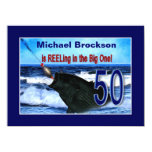 50th Birthday - Reeling in the Big One (Fish) 5.5x7.5 Paper Invitation Card