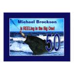 "50th Birthday - Reeling in the Big One (Fish) 5.5"" X 7.5"" Invitation Card"