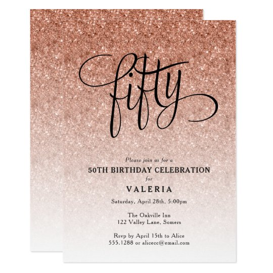 50th birthday rose gold glitter invitation zazzle com