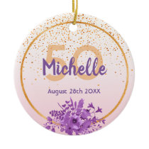 50th birthday rose gold with confetti and flowers ceramic ornament
