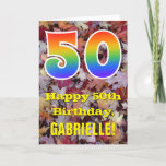 "[ Thumbnail: 50th Birthday; Rustic Autumn Leaves; Rainbow ""50"" Card ]"