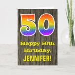 "[ Thumbnail: 50th Birthday: Rustic Faux Wood Look, Rainbow ""50"" Card ]"