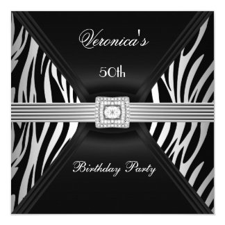 50th Birthday Silver Black Zebra Diamond  Jewel Card