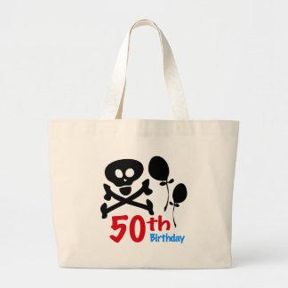 50th Birthday Skull Crossbones Large Tote Bag