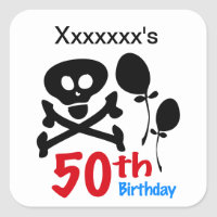 50th Birthday Skull Crossbones Square Sticker
