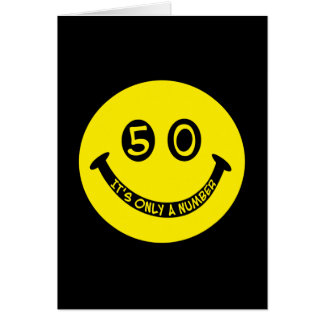 50th birthday Smiley Face, It's only a number! Greeting Cards