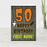 [ Thumbnail: 50th Birthday: Spooky Halloween Theme, Custom Name Card ]