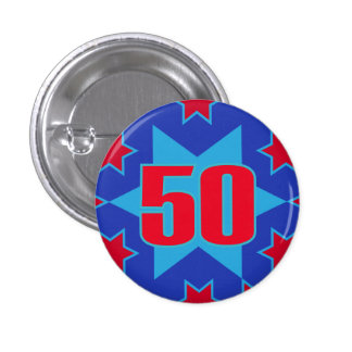 50th Birthday star button badge