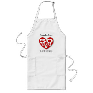 50th Birthday Still Cooking Double Hearts 50Z Long Apron