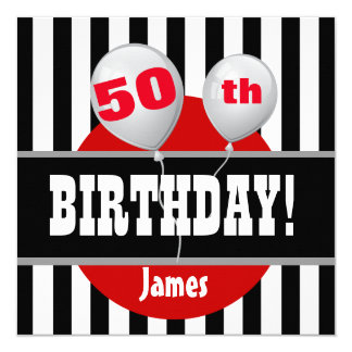 50th Birthday Stripes Balloons BLACK RED M01 Card