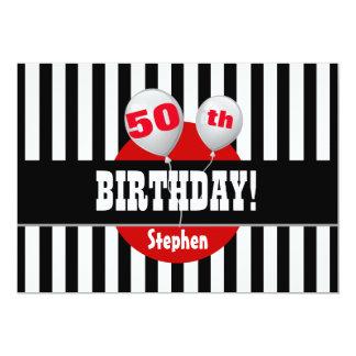 50th Birthday Stripes Balloons BLACK RED M01Z Card
