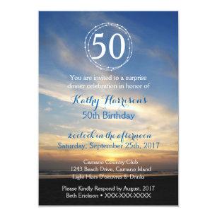 beach 50th birthday invitations zazzle