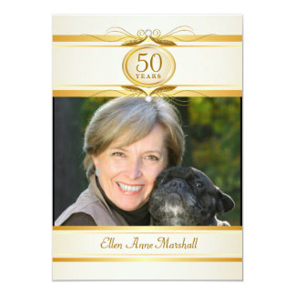 50th Birthday Surpise Party - Ivory Gold Monogram 5x7 Paper Invitation Card