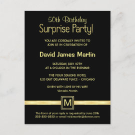 50th Birthday Surprise Party - Sample Invitations