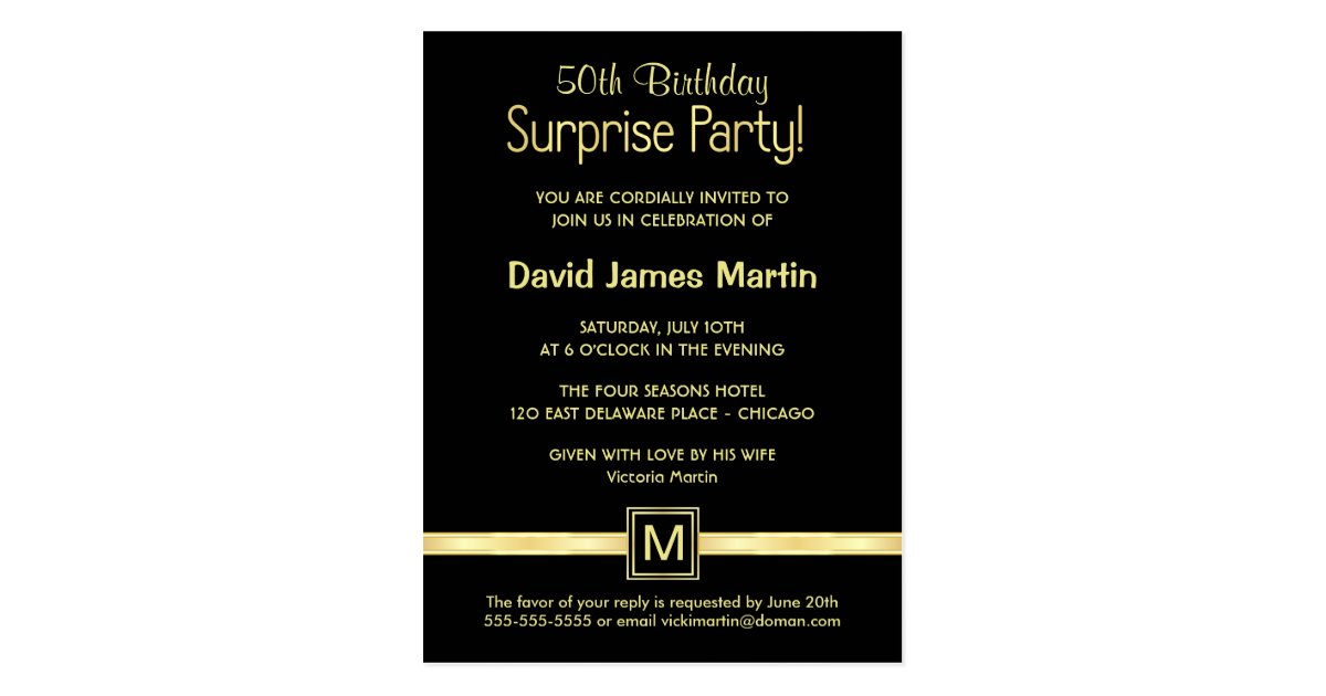 50th Birthday Surprise Party Sample Invitations – 50th Birthday Surprise Invitations