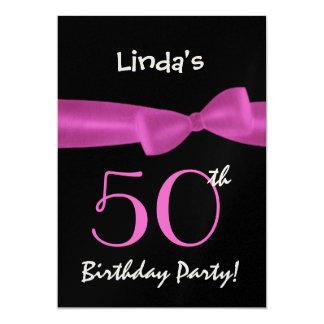 "50th Birthday Template Magenta Pink Bow W422 5"" X 7"" Invitation Card"