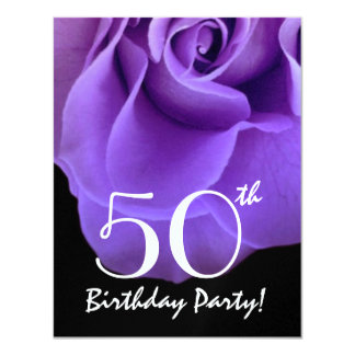 50th Birthday Template Purple Rose For Her W419
