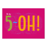 50th Birthday - the Big 5-OH! 5x7 Paper Invitation Card