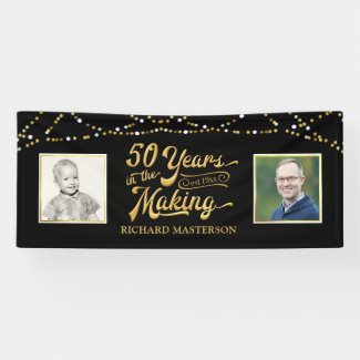 50th Birthday | Then & Now Photos | Black and Gold Banner