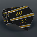 """50th Birthday Tie Black, Silver and Gold<br><div class=""""desc"""">50th Birthday Tie in a formal bold black stripe with gold and silver.  Customize by changing the age,  choose your favorite font and color. ALL DESIGN ELEMENTS ARE PRINTED</div>"""